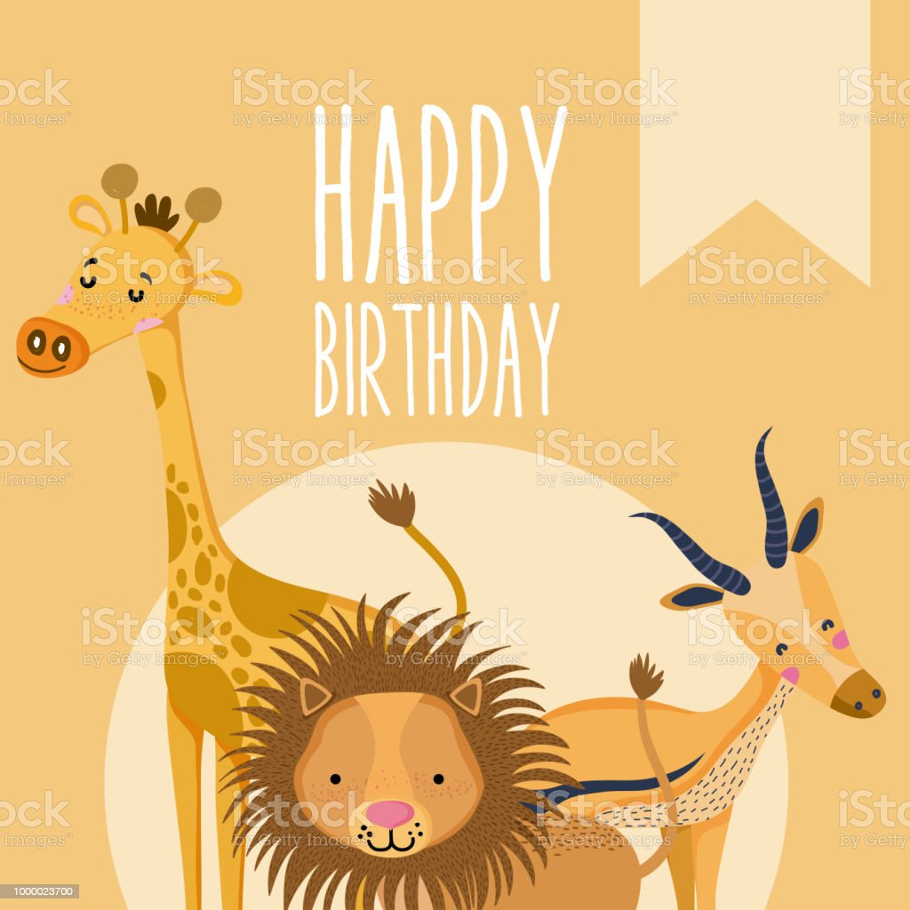 Happy Birthday Cute Animal Card Stock Vector Art More Images Of