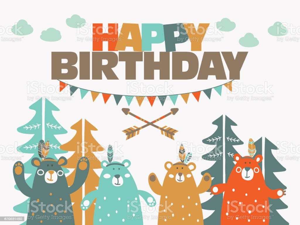 Happy birthday cute card with funny indian bears in forest stock happy birthday cute card with funny indian bears in forest royalty free happy birthday bookmarktalkfo Image collections