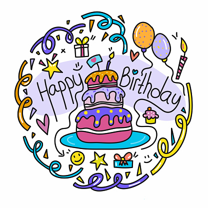 Happy Birthday Cute Doodle Illustration with Hand Drawn Colorful Symbols.