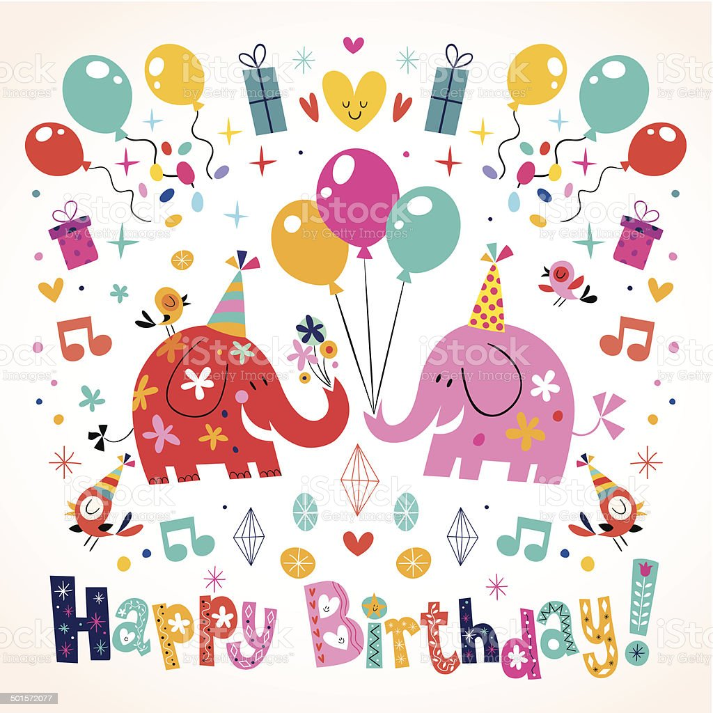 Happy Birthday Cute Elephants Card Stock Vector Art