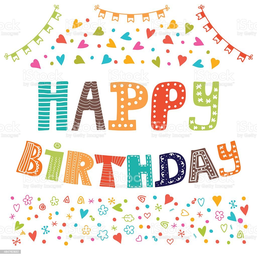 Happy Birthday Cute Greeting Card With Funny Design Elements Stock