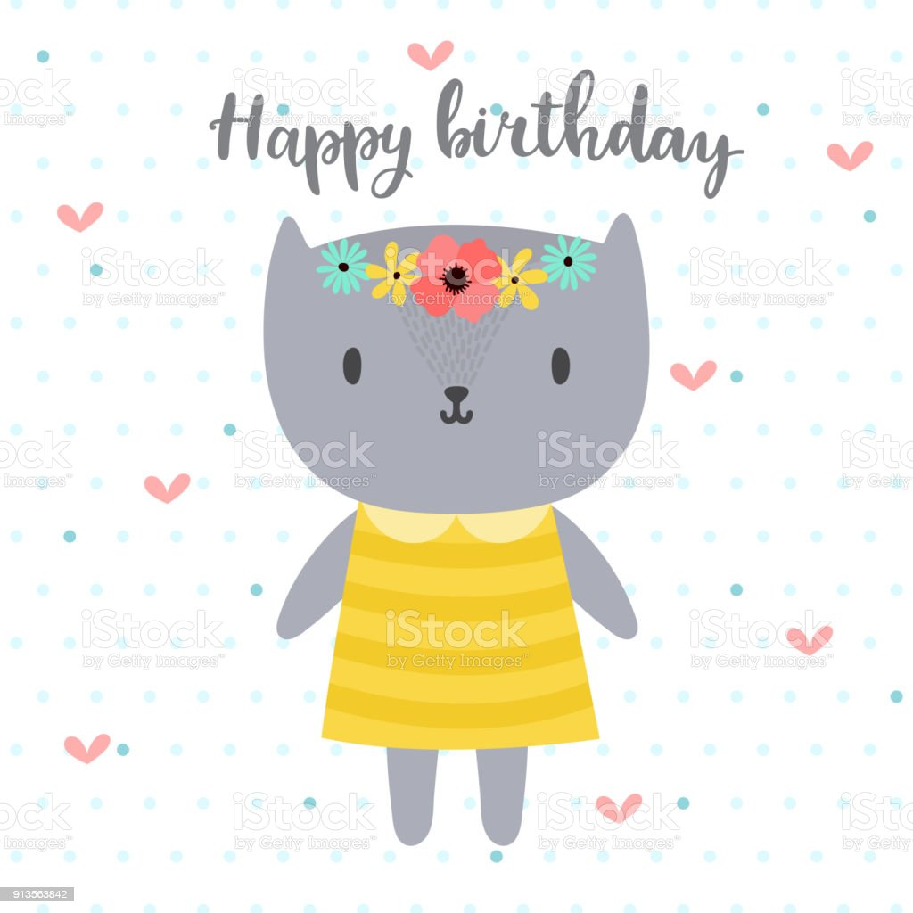 Happy Birthday. Cute Greeting Card With Funny Little Cat. Royalty Free Happy  Birthday