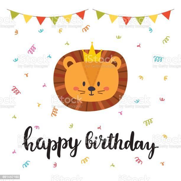 Happy birthday cute greeting card with funny little lion vector id691452160?b=1&k=6&m=691452160&s=612x612&h=jznlzzfgnyehaxwszdttsxc1wwgwrlgrj cmh5wzjzg=