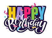 istock Happy birthday - cute hand drawn doodle lettering postcard. Template for invitation, banner, poster, t-shirt design. Birthday party banner. 1227486398