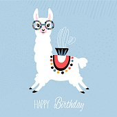 Happy Birthday cute llama card - vector