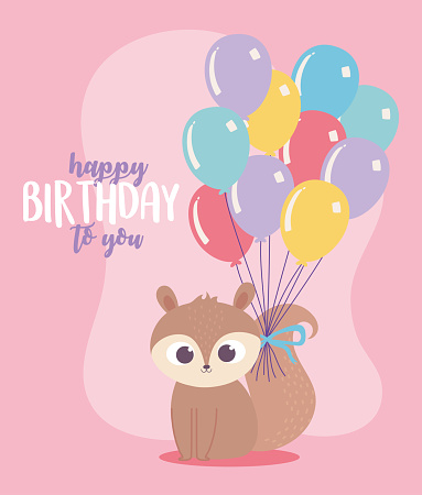 happy birthday, cute squirrel with balloons in tail celebration decoration cartoon