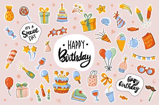 Happy Birthday cute stickers template set. Bundle of cake, drink, gift, decorations, objects. Festive party, celebration objects. Scrapbooking elements. Vector illustration in flat cartoon design