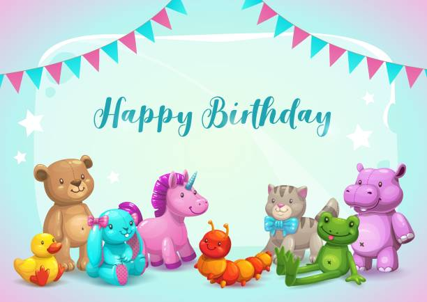 Happy Birthday. Cute vector greeting card. Happy Birthday. Cute vector greeting card with cartoon stuffed toys and decorative flags. Childish poster template. stuffed stock illustrations
