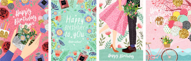 Happy Birthday! Cute vector illustration for congratulations, card, poster or banner. Set of drawn pictures for invitation vector art illustration