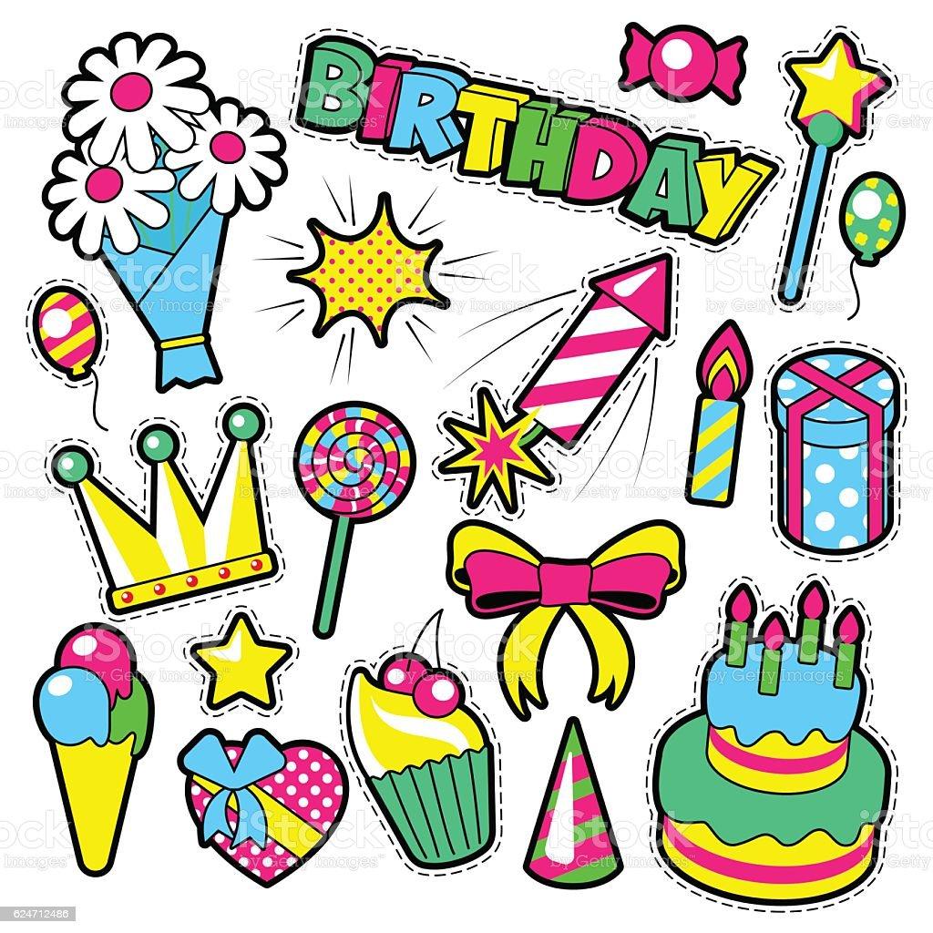 Happy Birthday Decoration Badges Patches Stickers Lizenzfreies Stock