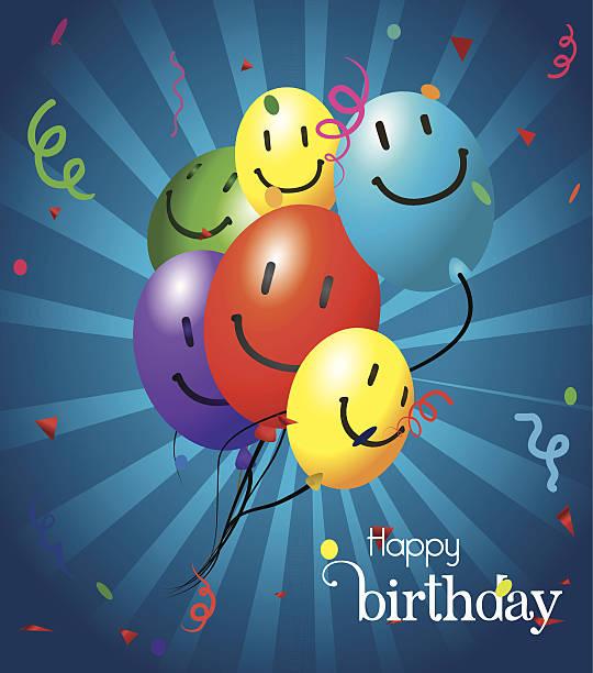 illustrations, cliparts, dessins animés et icônes de conception de joyeux anniversaire - ballon anniversaire smiley