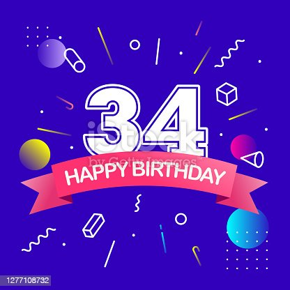 istock Happy Birthday Design with Colorful Abstract Background. Vector Design Template. 1277108732