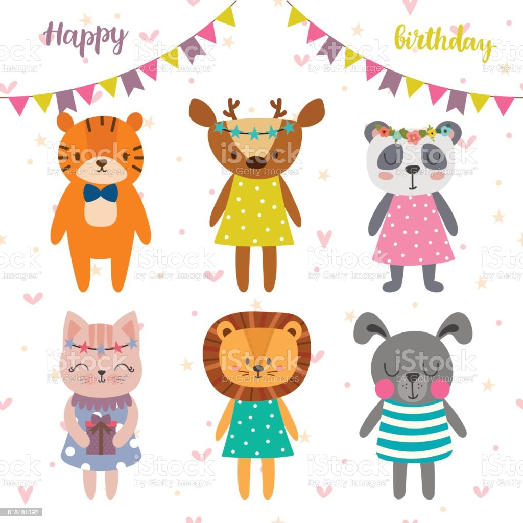 Happy Birthday Design With Cute Cartoon Animals Funny Greeting Card