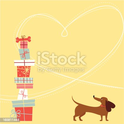 Dachshund dog and gift boxes with bone. Heart shape frame. Happy birthday card. Copy space. Global colors used - easy to change colors.