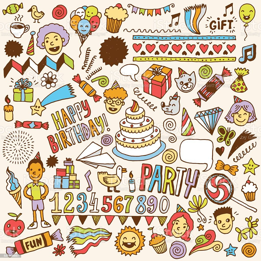 happy birthday doodle color set 1 hand drawn vector illustration
