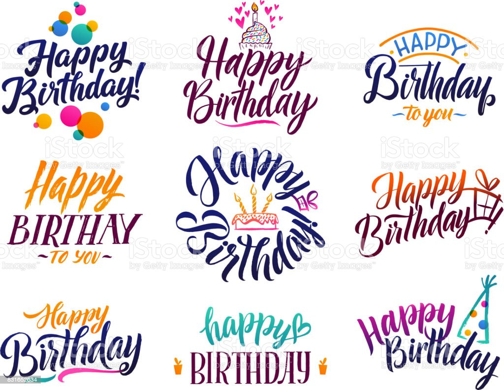 Happy Birthday Elegant Brush Script Text Vector Type With Hand Drawn Letters Stock Illustration Download Image Now Istock
