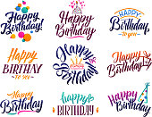 Happy birthday elegant brush script text. Vector type with hand drawn letters. Birthday handwritten text and decoration calligraphy illustration