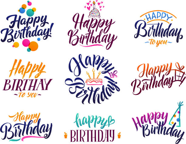 Happy birthday elegant brush script text. Vector type with hand drawn letters vector art illustration