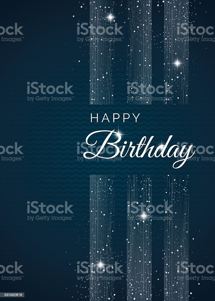 Happy birthday elegant card with  silver bows and sparkles vector art illustration