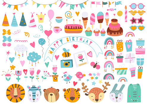 Happy birthday elements, decorations, sweets, cute animals, flowers, rainbows isolated