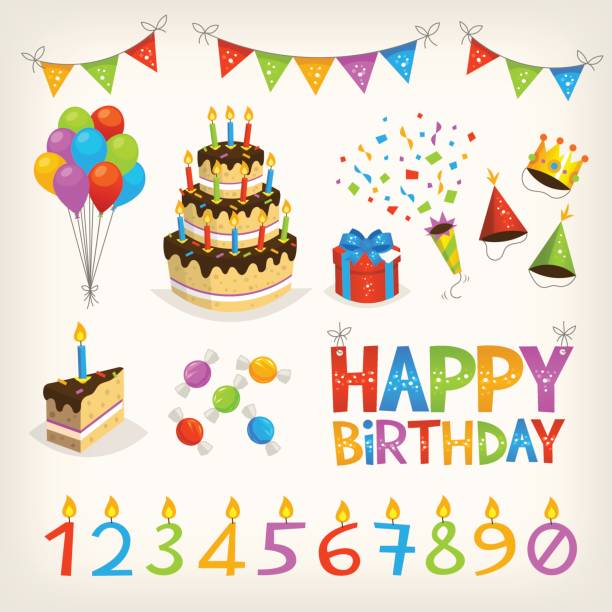 happy birthday elements - happy birthday cake stock illustrations, clip art, cartoons, & icons