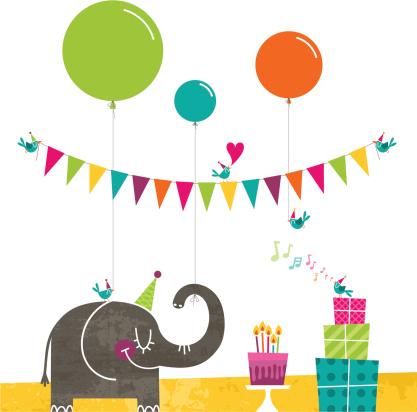 Happy birthday elephant birds party retro cake bunting