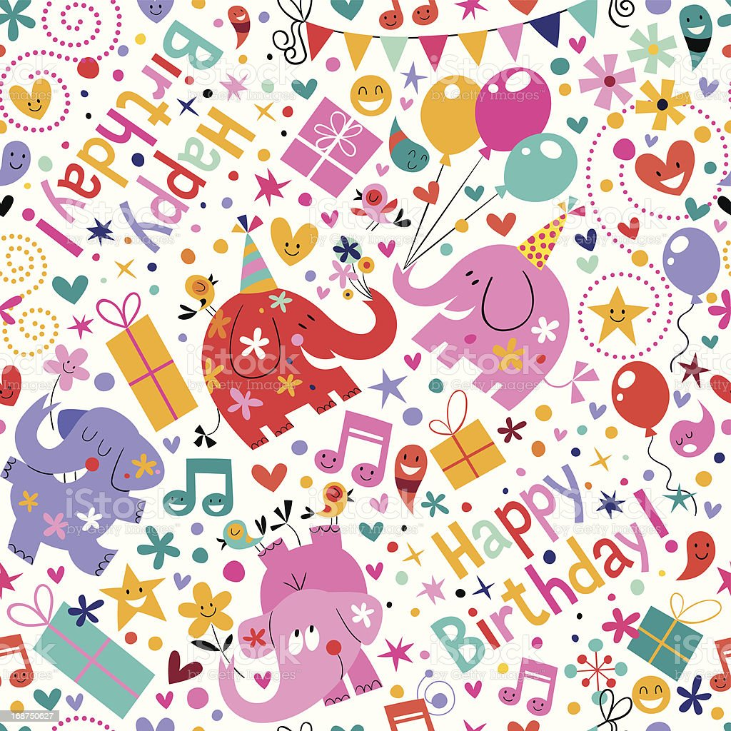Happy Birthday elephants pattern royalty-free stock vector art