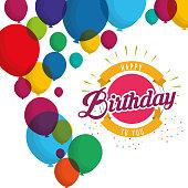 happy birthday explosion confetti balloons card vector illustration eps 10