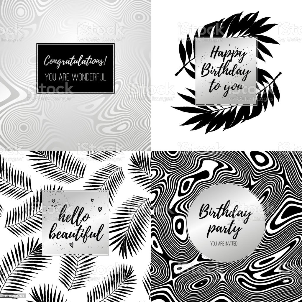 Happy Birthday Fashion Typography Posters Greeting Cards Invitation Set In Black Silver And White Vector Summer Background With Flow Striped Geometric