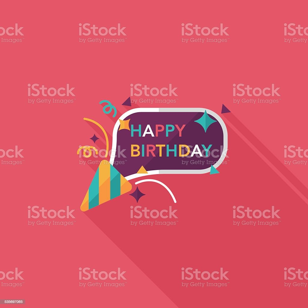 happy birthday flat icon with long shadow,eps10 vector art illustration