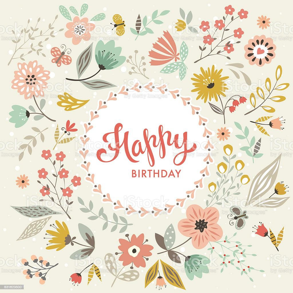 happy birthday floral card stock illustration  download