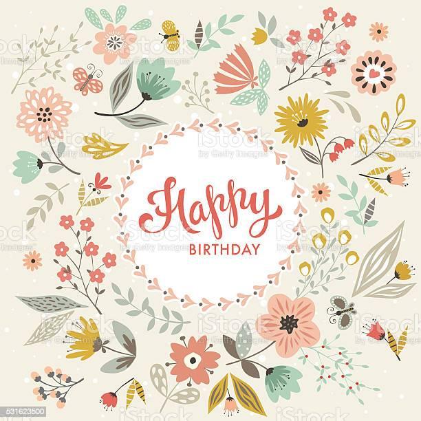 Happy birthday floral card vector id531623500?b=1&k=6&m=531623500&s=612x612&h=abujtd5jl7datehkw4jvw49jsue9aod9z9tpbsex5iq=