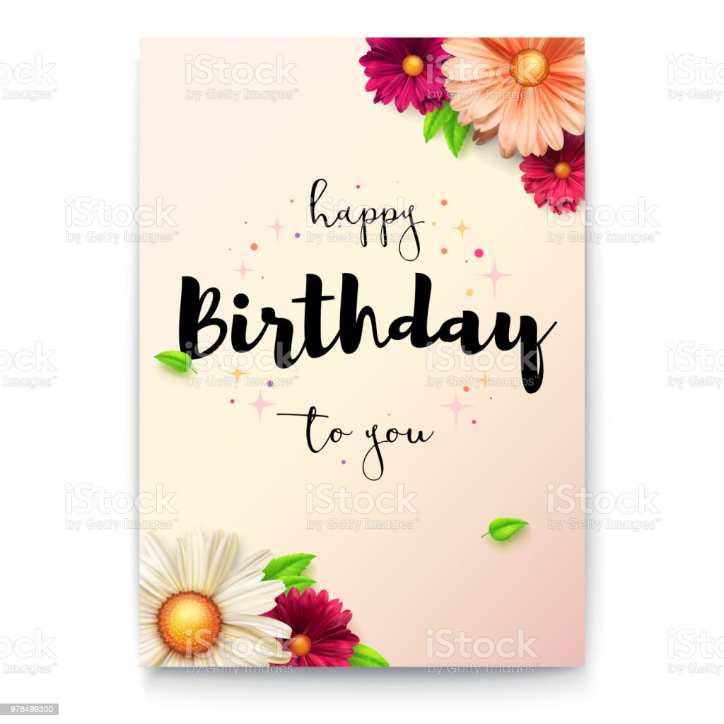 Happy Birthday Floral Lettering Design Birthday Poster With Spring
