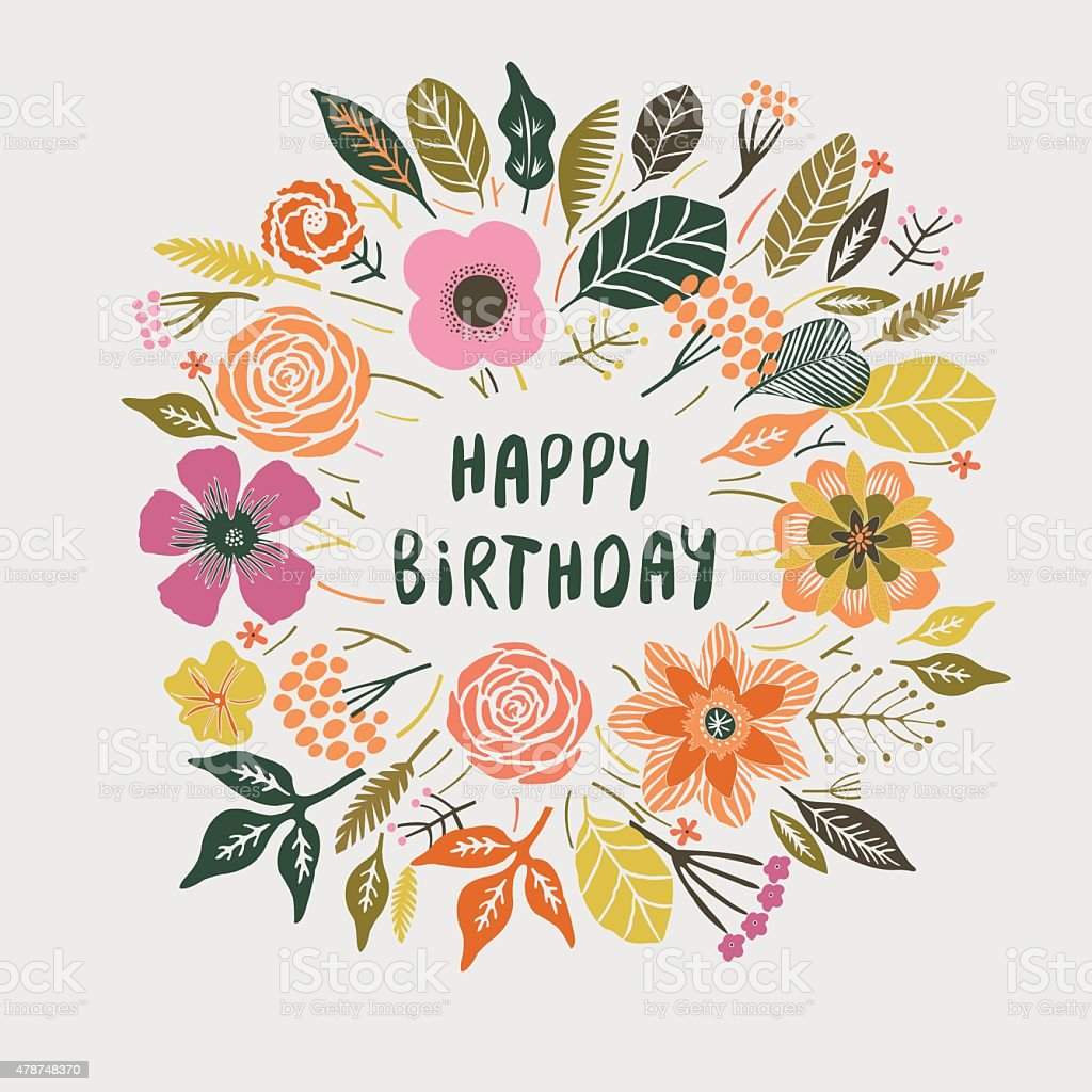 Happy Birthday Floral Wreath Card Design stock vector art – Happy Birthday Card Design Free