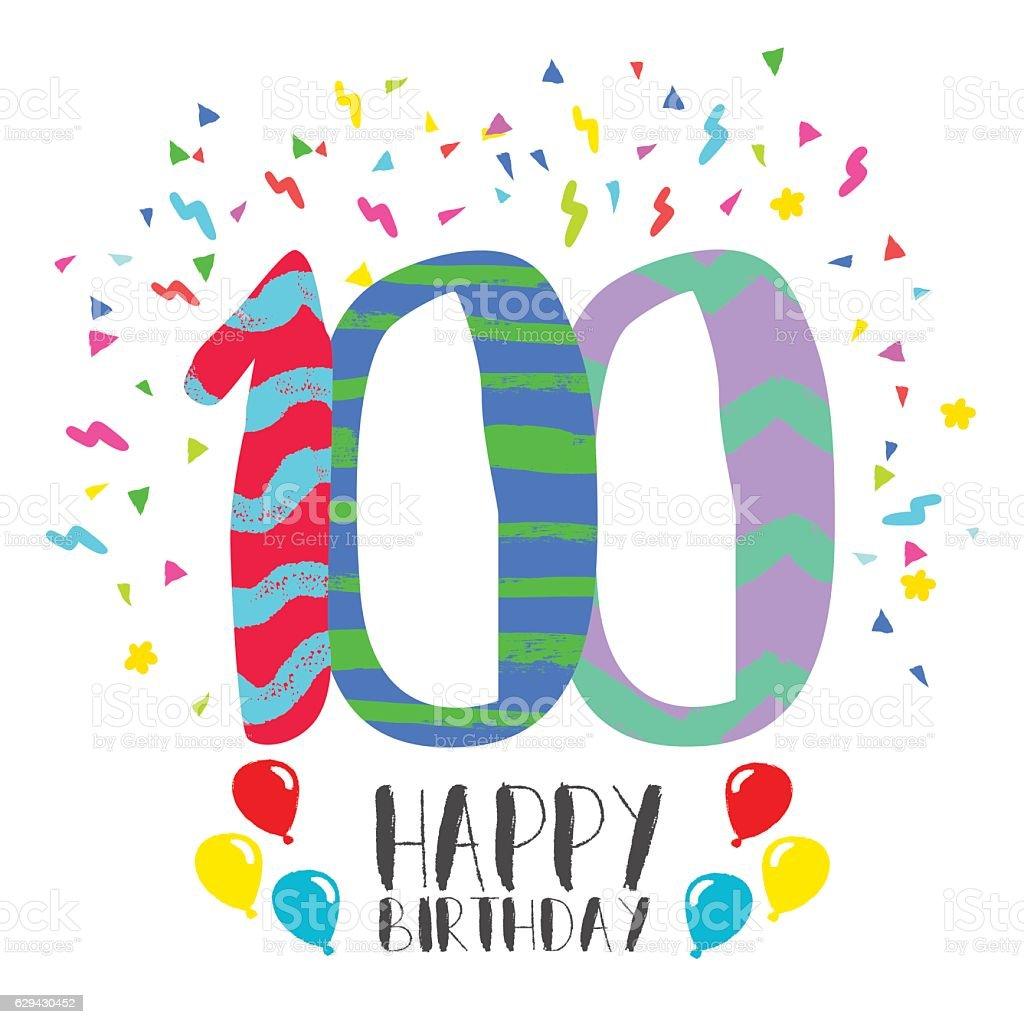 Happy Birthday For 100 Year Party Invitation Card Lizenzfreies