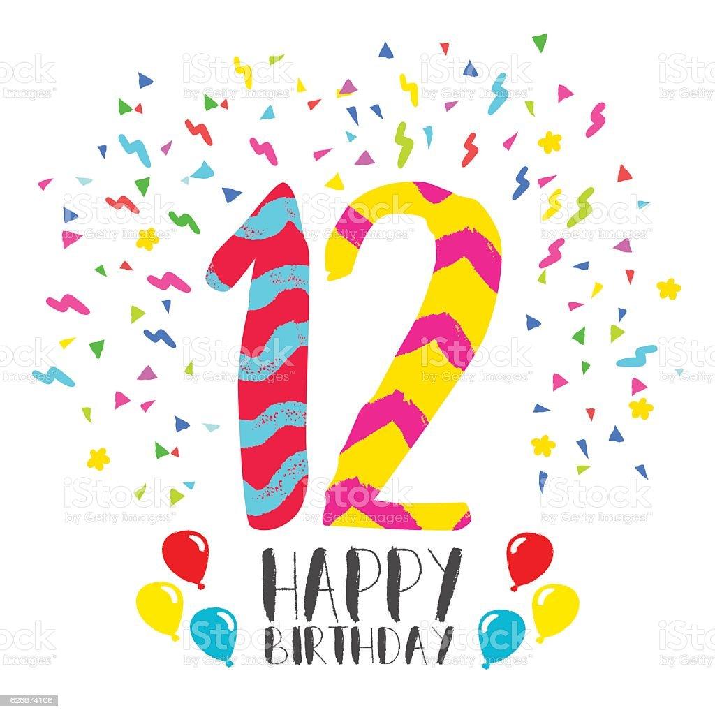 Happy Birthday for 12 year party invitation card vector art illustration