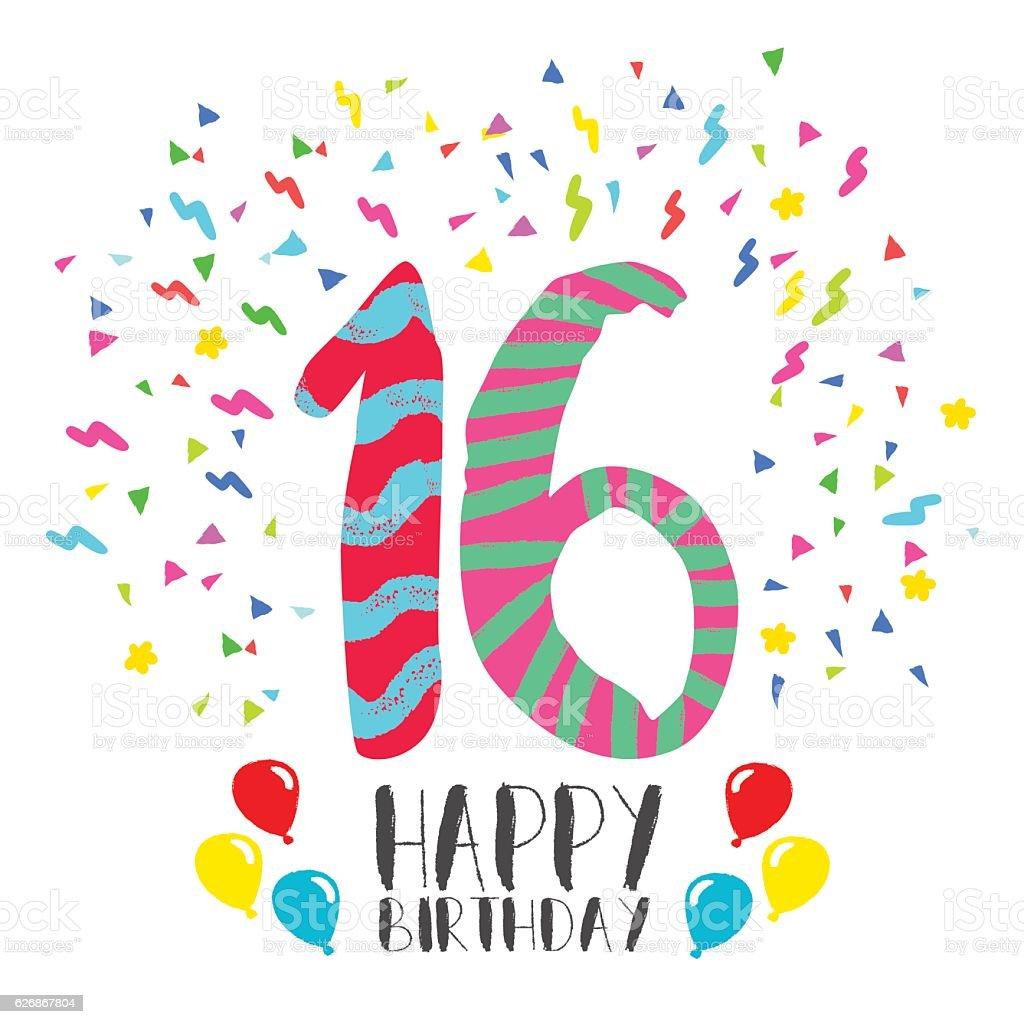Happy Birthday for 16 year party invitation card vector art illustration
