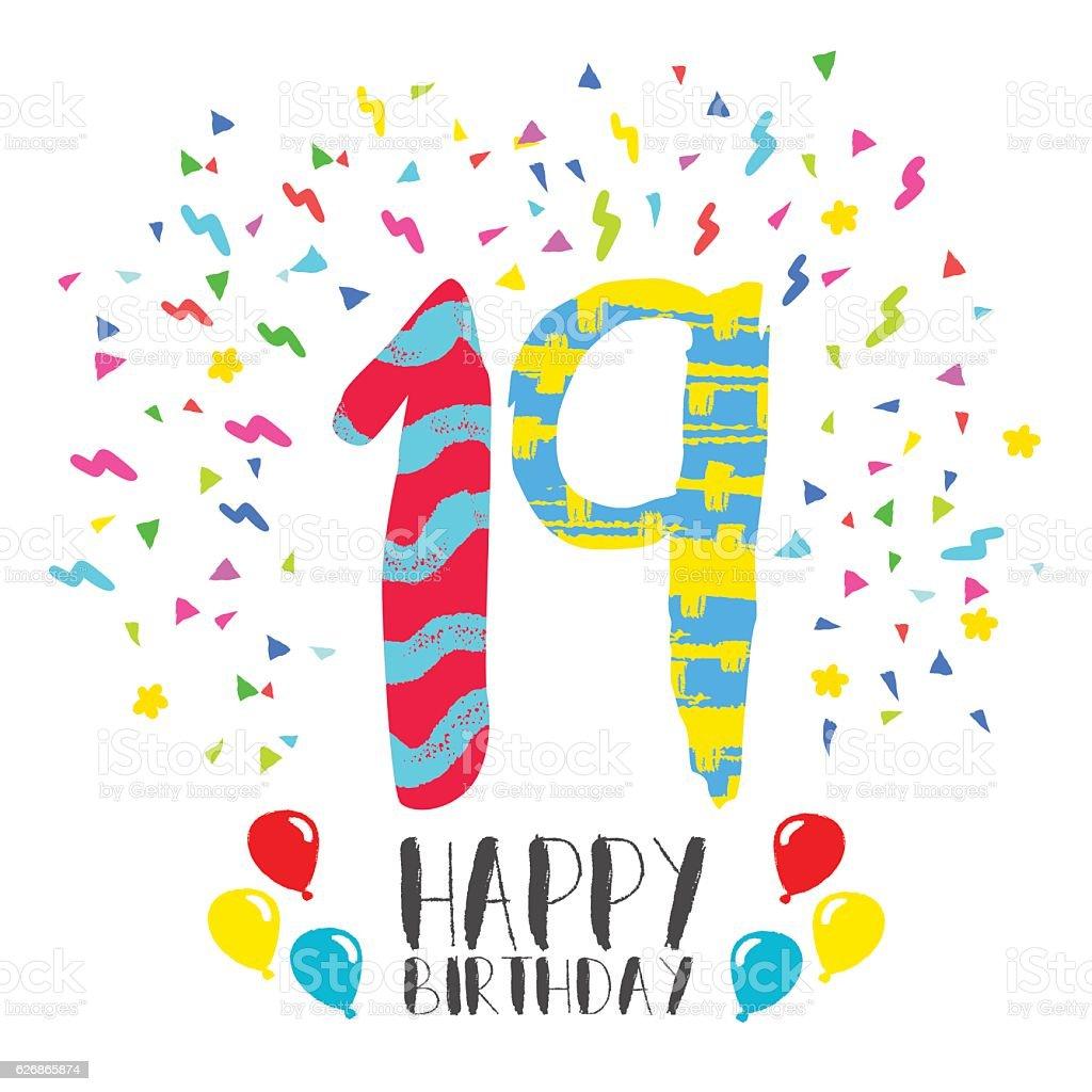 Ilustrao de happy birthday for 19 year party invitation card e happy birthday for 19 year party invitation card ilustrao de happy birthday for 19 year party stopboris Images