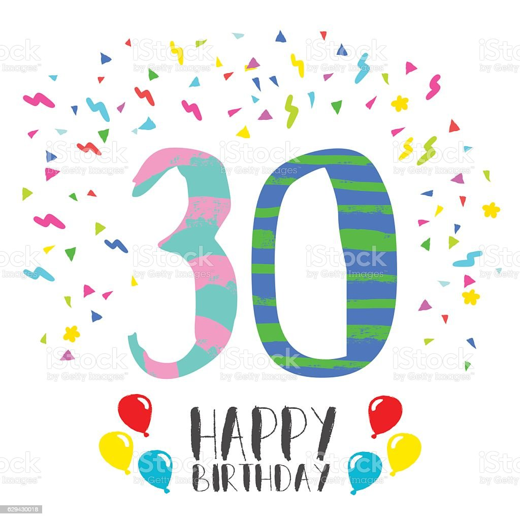 Happy birthday for 30 year party invitation card stock vector art happy birthday for 30 year party invitation card royalty free happy birthday for 30 year stopboris Image collections