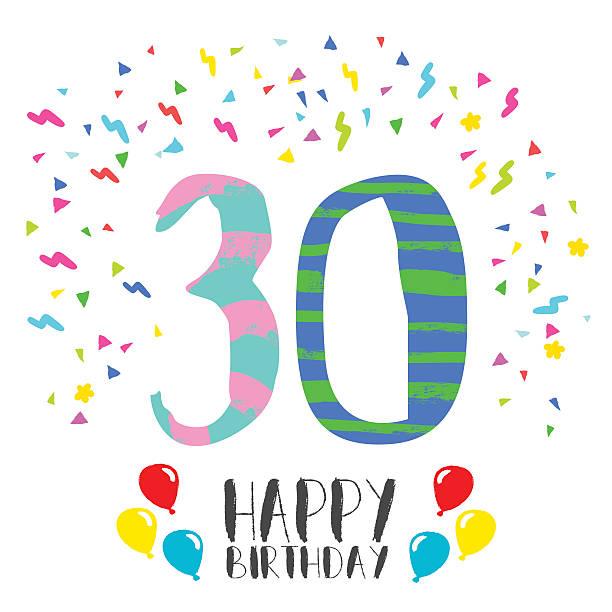 Happy Birthday for 30 year party invitation card vector art illustration