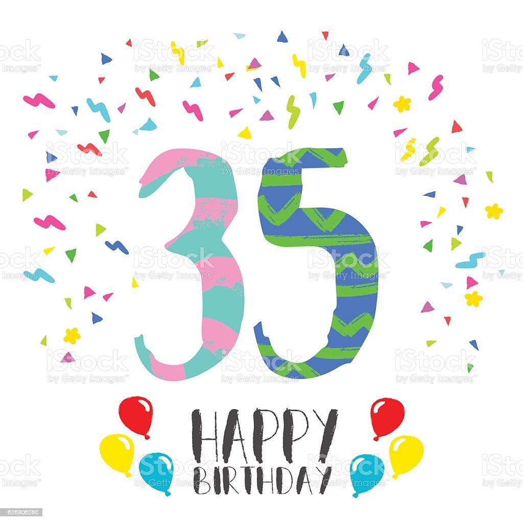 Happy Birthday For 35 Year Party Invitation Card Lizenzfreies