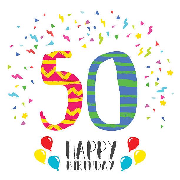bildbanksillustrationer, clip art samt tecknat material och ikoner med happy birthday for 50 year party invitation card - 50 54 år