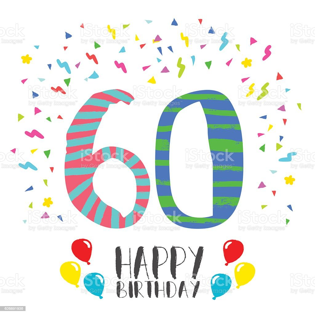 Happy Birthday for 60 year party invitation card - illustrazione arte vettoriale