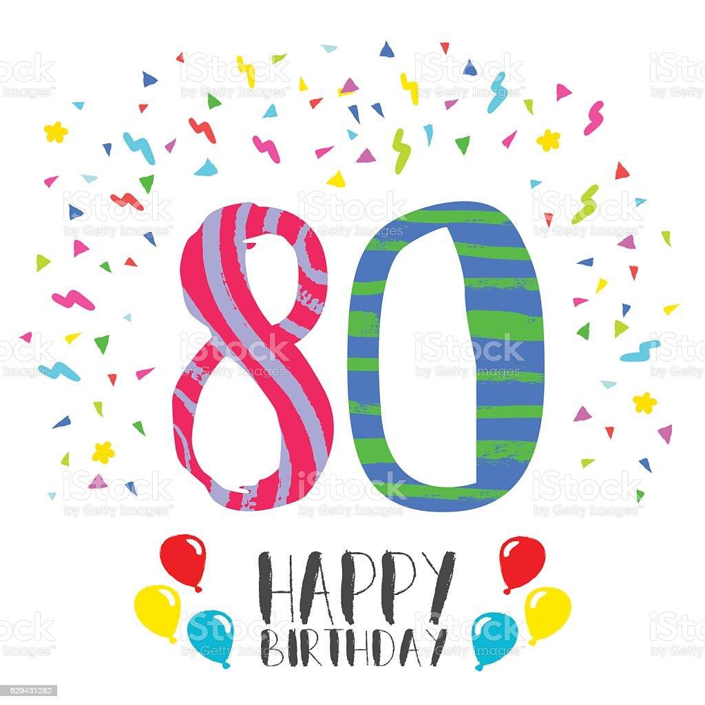 Happy Birthday For 80 Year Party Invitation Card Lizenzfreies