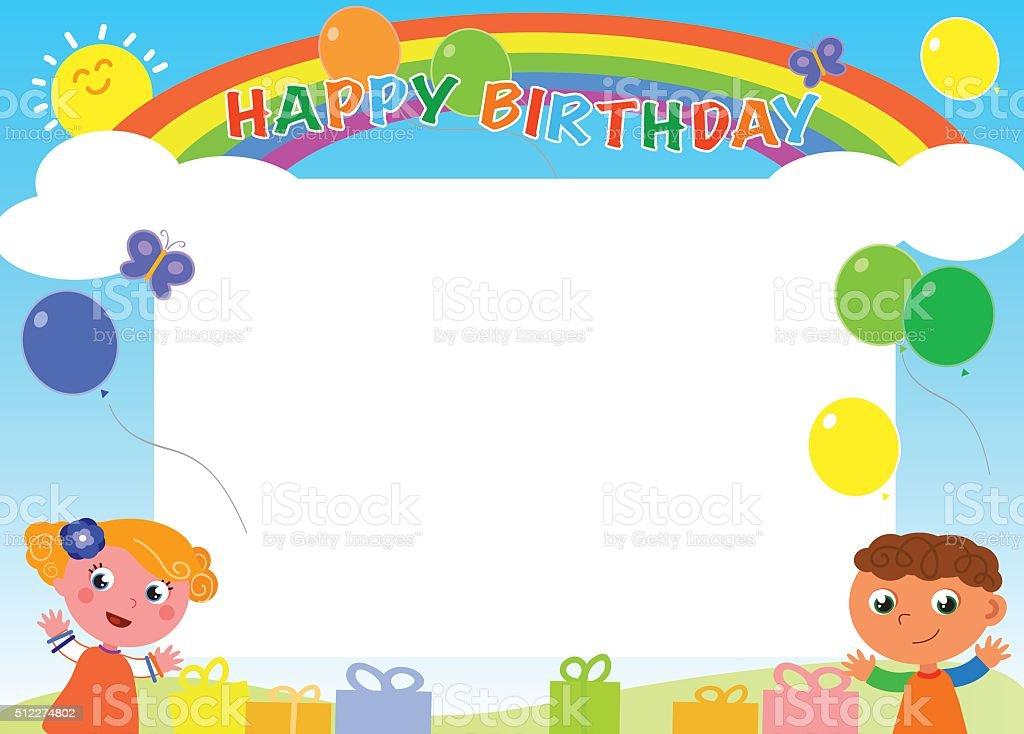 Glücklich Birthdayframevektor Stock Vektor Art und mehr Bilder von ...