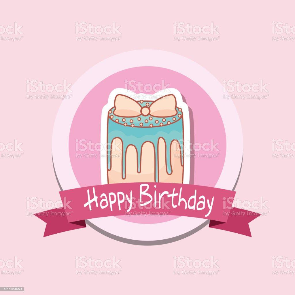 Alles Gute Zum Geburtstag Rahmen Mit Sussen Kuchen Stock Vektor Art