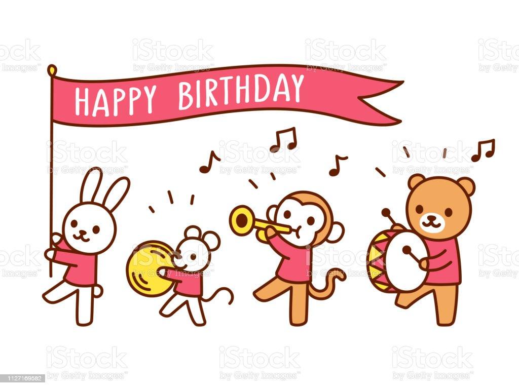 Happy Birthday Funny Animal Parade Stock Illustration Download Image Now Istock