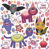happy birthday Funny monsters party card design. seamless background vector