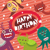 Happy birthday Funny monsters party card pink background with stars.