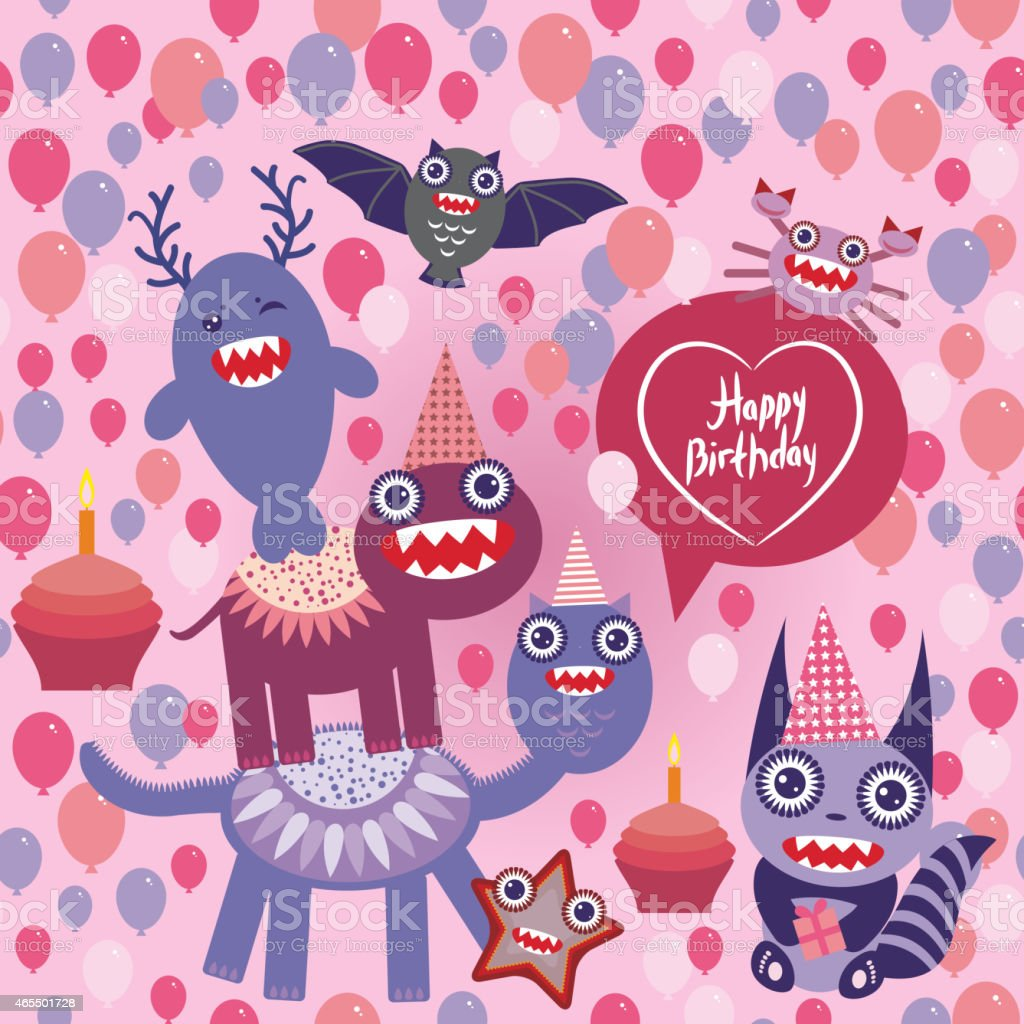 happy birthday Funny monsters party design. seamless background vector